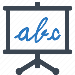 alphabet, blackboard, education, school, study icon