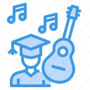 education, graduate, learning, music, school, student, study icon