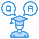 answer, education, learning, question, school, student, study icon