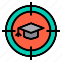 education, goal, learning, school, student, success, target icon