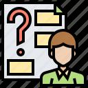 ask, consult, problem, question, quiz