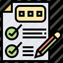 checklist, examination, report, result, score