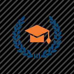 academic, cap, degree, department, education, faculty, graduation, grant, high school, internship, jurisprudence, laurel wreath, law, sertificate, university icon