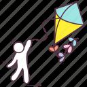 flying kite, kite, kite game, outdoor activity, paper kite icon
