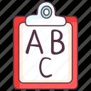 alphabetic letters, basic education, basic knowledge, knowledge, primary education icon