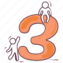 digits, integers, mathematics, numeric number, three icon
