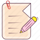 attach file, drafting paper, paperclip, writing file, writing paper icon