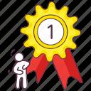 achievement badge, flower badge, reward, winning badge, winning prize icon