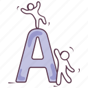 a, a letter, basic education, english alphabet, english letter icon