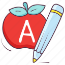 alphabet, apple, basic learning, fruit name, primary learning icon