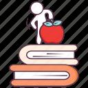 books, education, fruitful education, healthy education, study icon