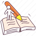 attach file, drafting paper, textbook, writing file, writing paper icon