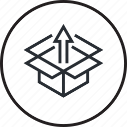 box, education, knowledge, line, outside, thinking icon