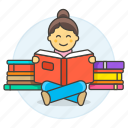 3, books, bookworm, education, female, heap, knowledge, learning, pile, reading, smart icon