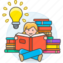 book, bookworm, bulb, education, female, heap, idea, inspiration, learning, light, reading icon