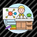 chemistry, classroom, desk, education, lecture, male, mindmap, school, teacher icon