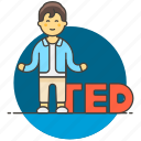 learning, conference, education, educating, modern, talk, male, ted, speaker, speech, presentation icon