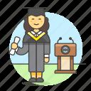 achievement, college, degree, diploma, education, female, graduate, graduation, student, university