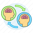 exchange, knowledge, education, learning, information, knowlege, sync, to, modern, transfer, ai, brain icon