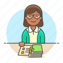 1, books, education, employee, female, librarian, library, management, notebook, registry, school icon