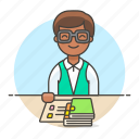 1, books, education, employee, librarian, library, male, management, notebook, registry, school icon