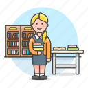 2, books, bookshelves, desk, education, employee, female, librarian, library, registry, school icon
