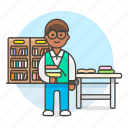 2, books, bookshelves, desk, education, employee, librarian, library, male, registry, school icon