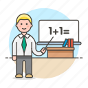 1, board, classroom, desk, education, instructor, male, math, school, teacher, whiteboard icon
