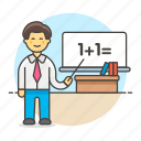 board, classroom, desk, education, instructor, male, math, school, teacher, whiteboard icon