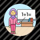 board, classroom, desk, education, female, instructor, math, school, teacher, whiteboard icon