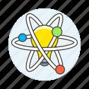 atom, chemistry, creativity, education, idea, inspiration, learning, lightbulb, science, sciencetific icon