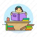 books, desk, education, female, information, knowledge, learning, reading, student, studying icon