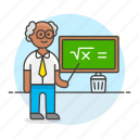 chalkboard, classroom, education, instructor, lecturer, male, math, school, teacher, teaching icon