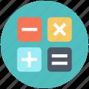 calculate, calculator, education icon