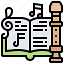 flute, instrument, learning, music, notes icon