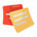 office papers, memos, sticky notes, reminder pad, notepad, paper post icon