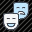 theatre, mask, face, sad, happy