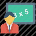teacher icon, education, math, student icon