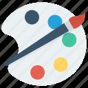 paint, paint brush, painting palette, palette icon