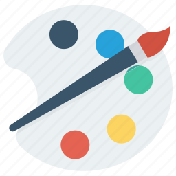 paint, paint brush, painting palette, palette icon icon