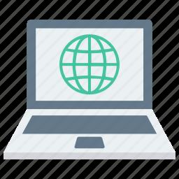 atom, earth, laptop, laptop screen, molecule icon, world icon