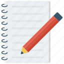 message, note, notepad, pad icon, pen, pencil icon