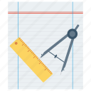 compasses, design, dividers, paper, scale, tool, trace icon icon