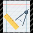 compasses, design, dividers, paper, scale, tool, trace icon
