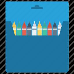 box, colour, paintbox, pencil, red, school, white icon icon