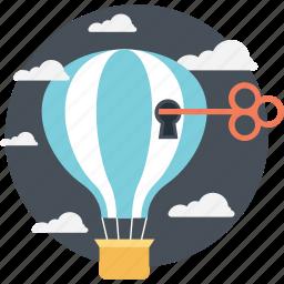 access key, access symbol, hot air balloon, imaginations, key to success icon