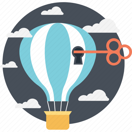 Access key, access symbol, hot air balloon, imaginations, key to success icon - Download on Iconfinder