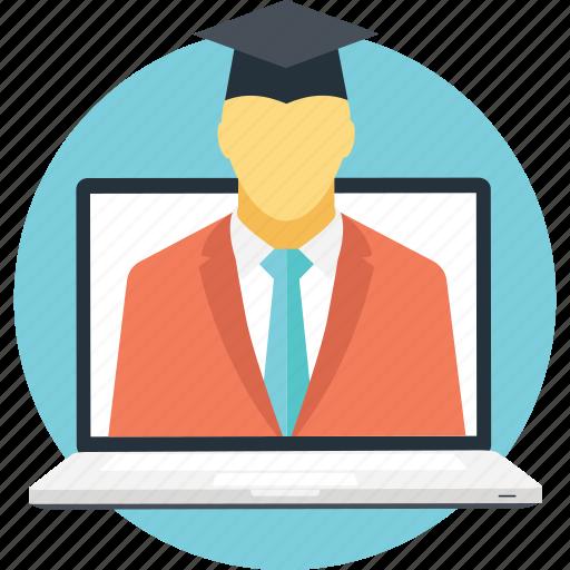 elearning, modern education, online education, online student, online teacher icon