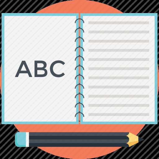 abc book, alphabet book, kindergarten, playgroup, preschool icon