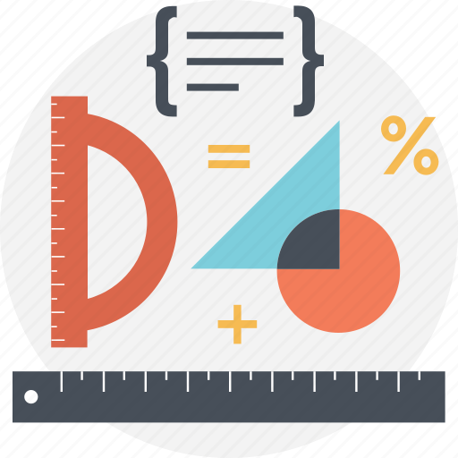 algebra, drawing material, geometrical tools, mathematics, technical drawing icon